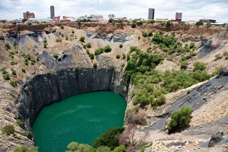 Kimberley's big hole with the city centre in the background