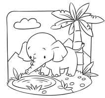 Elephant at a waterhole colouring in picture